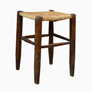 Rustic Wood and Straw Stools, 1960s, Set of 4