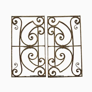 Rejas de hierro o hierro para vallas refinadas de hierro forjado. Juego de 2