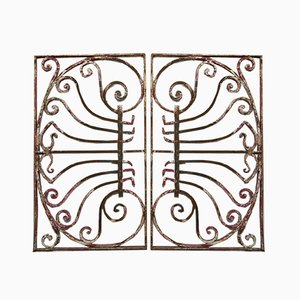 Art Nouveau Wrought Iron Window Grilles or Fence Grilles, Set of 2
