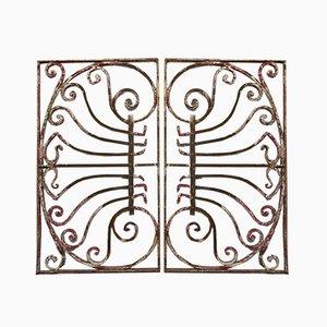 Jugendstil Fenstergitter aus Schmiedeeisen oder Zaungitter, 2er Set