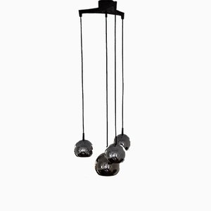 Vintage Cascade Lamp with 4 Chromed Metal Spheres, 1 Large & 3 Small on a Black Plastic Outlet, 1970s