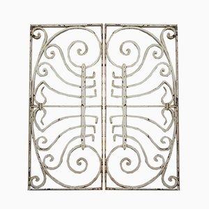 Griglie Art Nouveau in ferro battuto o griglie da recinzione, set di 2