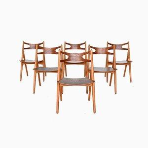 Chaises de Salle à Manger CH29 Sawbuck par Hans J. Wegner pour Carl Hansen & Søn, Danemark, 1952, Set de 6