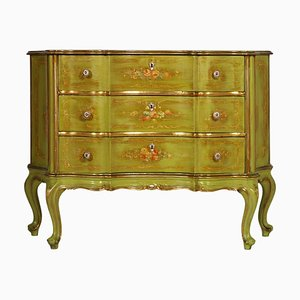 Venetian Baroque Hand-Painted Chest of Drawers with Edges in Gold Leaf from La Permanente Mobili Cantù, 1910