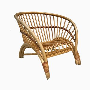 Large Italian Bamboo Lounge Chair with Leather Lacings, 1970s