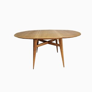 Oak Round Dining Table by Roger Landault, France, 1950s