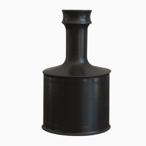 Black Ceramic Bottle Vase by Franco Bucci, Pesaro, 1970s
