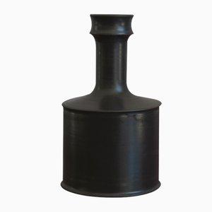 Vase Bouteille Noir en Céramique par Franco Bucci, Pesaro, 1970s