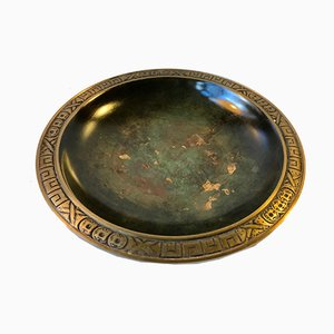Art Deco Patinated Bronze Dish from Krone Bronce, Copenhagen, 1920s