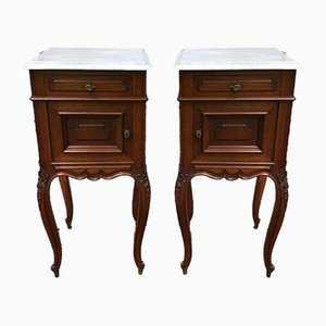 Antique French Mahogany and White Carrara Marble Top Nightstands, Set of 2