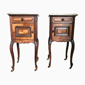 Antique French Nightstands on Castors Mahogany and Beige Marble Top, Set of 2