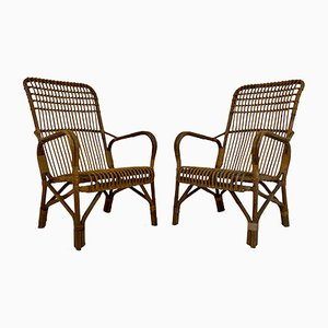 Mid-Century Italian Bamboo and Rattan Armchairs, 1950s, Set of 2