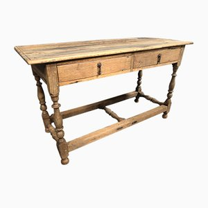 Mid-19th Century French Rustic Oak Console, Hall, or Lamp Table