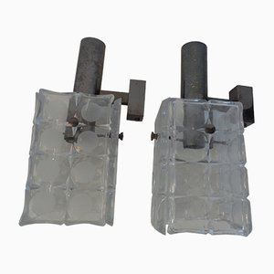 Glass Wall Lights, 1974, Set of 2