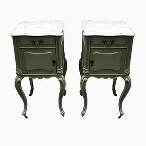 Antique French Mahogany and White Carrara Marble Top Nightstands on Castors, Set of 2