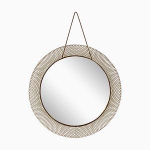 Mid-Century Italian Circular Mesh Mirror, 1950s