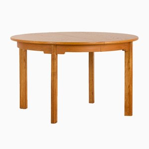 Danish Oak Round Extendable Dining Table with 2 Leaves Attributed to Børge Mogensen, 1960s