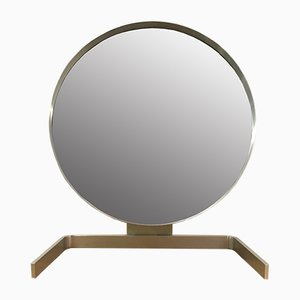 Brushed Aluminum Cheval Mirror by Guy Lefevre for Maison Jansen, France, 1970s