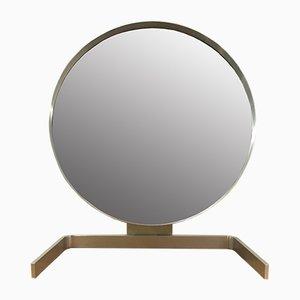 Specchio Cheval in alluminio spazzolato di Guy Lefevre per Maison Jansen, Francia, anni '70