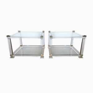 French Lucite, Glass & Brass 2-Tier Side Tables in the Style of Maison Jansen, 1970s, Set of 2