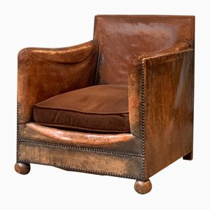 Vintage Leather Club Chair, 1940s