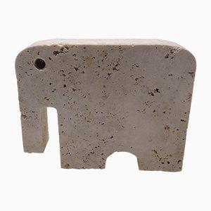 Escultura de elefante Rapolano de travertino de Fratelli Mannelli, años 70