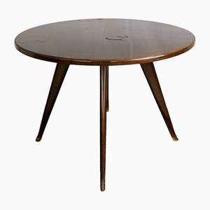 Table d'Appoint Ronde Vintage en Acajou Style Osvaldo Borsani, Italie, 1950s