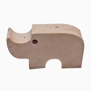 Scultura a forma di rinoceronte in travertino di Fratelli Mannelli, anni '70