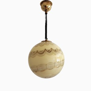 Vintage Murano Glass and Brass Adjustable Ceiling Lamp, 1970s