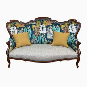 19th Century Napoleon III Mahogany and Casamance Fabric Sofa