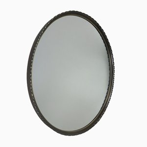 Burnished Brass Round Wall Mirror, 1960s
