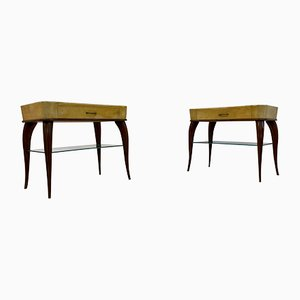 Mid-Century Italian Wood and Parchment Bedside Tables, 1950s, Set of 2