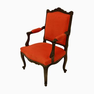 Antique Louis XV Style French Walnut Armchairs, Set of 2
