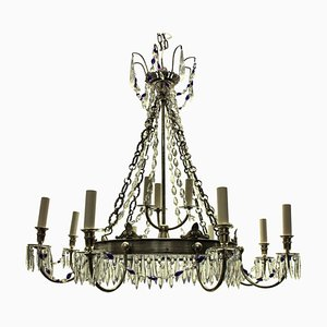 Antique Russian Blue Glass and Silver-Plated Chandelier