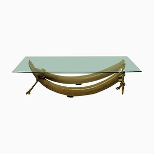 Faux Tusk and Gilt Bronze Coffee Table by S. T. Valenti, 1970s