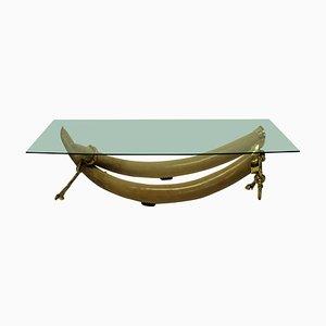 Table Basse en Fausse Brutalerie et Bronze Doré par ST Valenti, 1970s