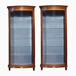 Mahogany Bow Fronted Display Cabinets, 1960s, Set of 2