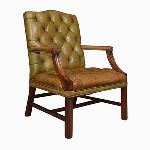 Antique Georgian Style Leather Gainsborough Library Chair