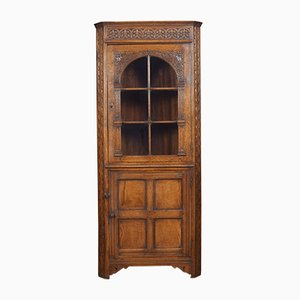 Antique Carved Oak Corner Display Cabinet