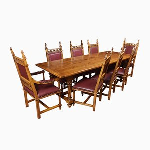 Gothic Oak Refectory Dining Table & Chairs Set, 1920s, Set of 9