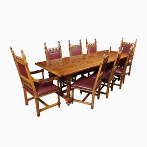 Set de Table et Chaises de Réfectoire Gothique en Chêne, 1920s, Set de 9