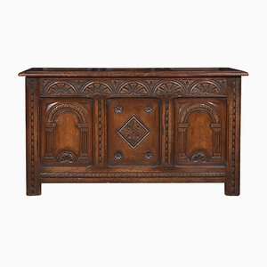 Antique Oak Carved Coffer Chest
