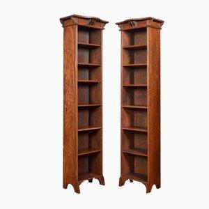 Antique Arts & Crafts Oak Narrow Open Bookcases, Set of 2