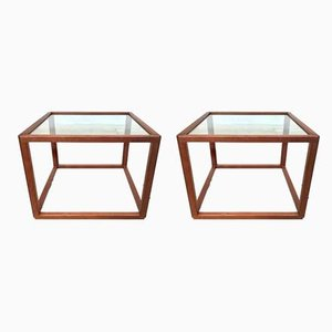 Danish Glass and Teak Cube Side Tables by Kai Kristiansen for Vildbjerg Møbelfabrik, 1960s, Set of 2