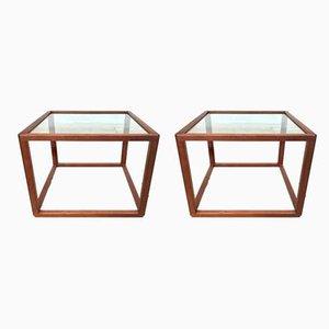 Tables d'Appoint Cube en Verre et en Teck par Kai Kristiansen pour Vildbjerg Møbelfabrik, Danemark, 1960s, Set de 2