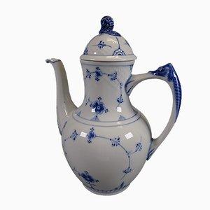 Vintage Kaffee oder Teekanne mit Blumen Dekoration aus Stroh von Bing & Grondahl