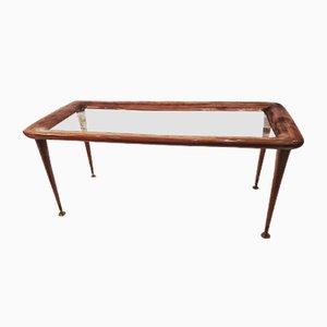 Tavolino da caffè in mogano e vetro con piedi in ottone nello stile di Paolo Buffa, Italia, anni '50
