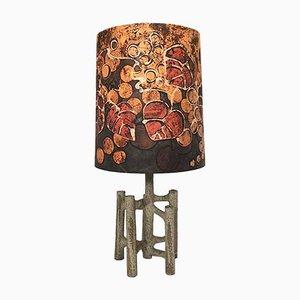 Große Skulpturale Keramik Tischlampe mit Batik Lampenschirm, 1960er