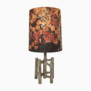 Large Sculptural Ceramic Table Lamp with Batik Shade, 1960s