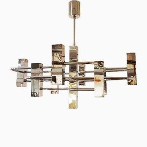 Lámpara de araña gráfica vintage de metal cromado de Gaetano Sciolari, años 70